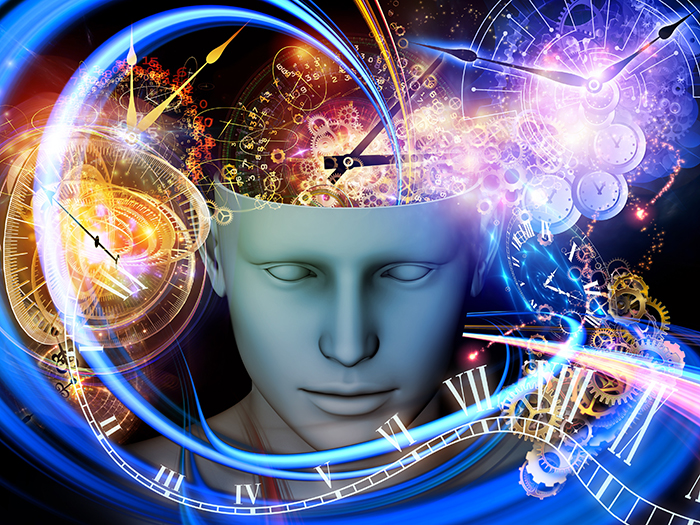 Background design of cutout of male head and symbolic elements on the subject of human mind, consciousness, imagination, science and creativity